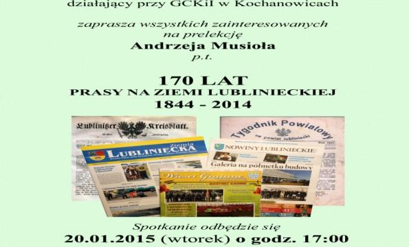 170 Lat Prasy na Ziemi Lublinieckiej 1844 – 2014