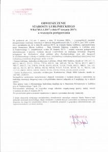 Obwieszczenie Starosty Lublinieckiego