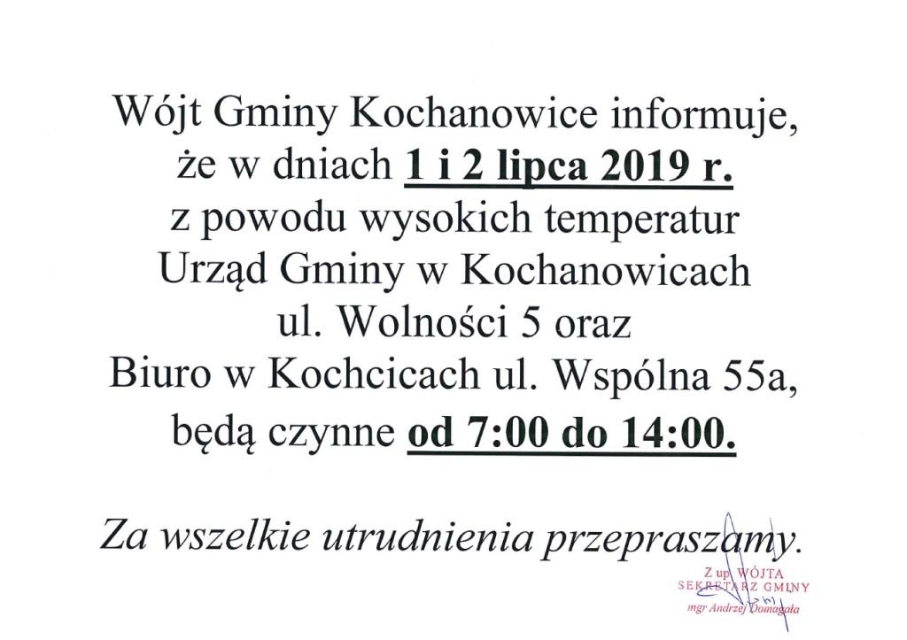 Informacja o godzinach
